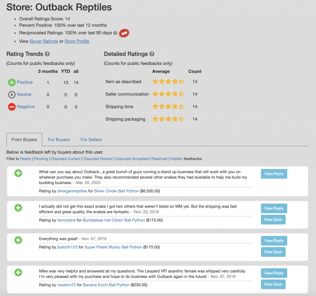 Outback Reptiles Reviews
